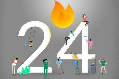 Cartel de las 24 horas de Manos Unidas